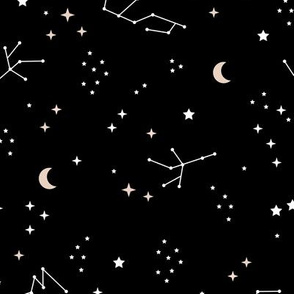 Astrophysics stars and moon boho universe science design nursery neutral monochrome black and white LARGE