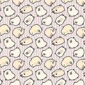 Pinstripe Pugs - dusky pink