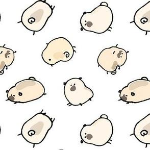 Pinstripe Pugs v2 - white