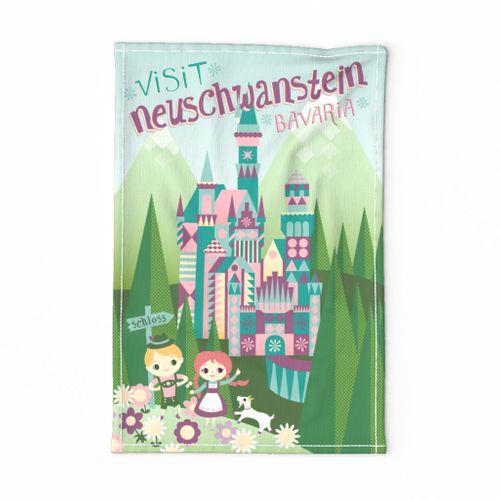 Neuschwanstein Vintage Travel Tea Towel