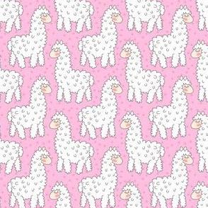 Cute cartoon alpaca on pink