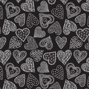 Doodle hearts - black