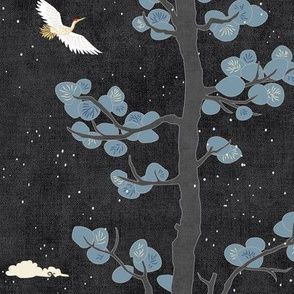 Forest Fabric, Crane Fabric in Black & Gold (medium scale)   Bird fabric in dark, charcoal grey with red and gold. Japanese print fabric, tree fabric with cranes and snow.