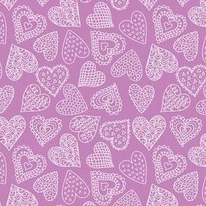 Doodle hearts - purple