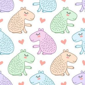 Cute cartoon capybara - multicolored