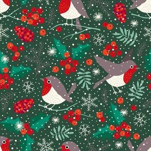 Christmas birds in snow on dark green