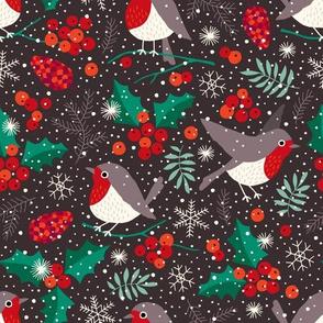 Christmas birds in snow on dark warm gray