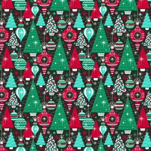 Deck The Halls - Maximalist Christmas Black Traditional Multi Small Scale