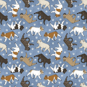 Trotting French Bulldogs and paw prints - faux denim