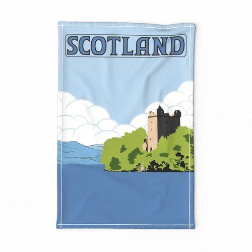 vintage style Scotland travel poster tea towel