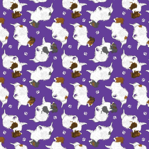 Trotting Papillons and paw prints - purple