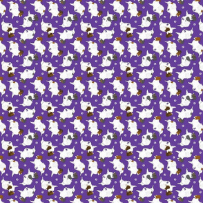 Tiny Trotting Papillons and paw prints - purple