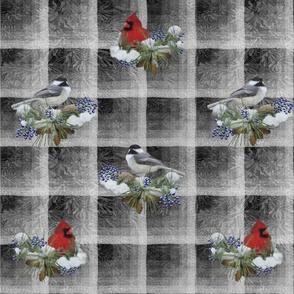 Cardinals and Chickadees on Gray Yardage
