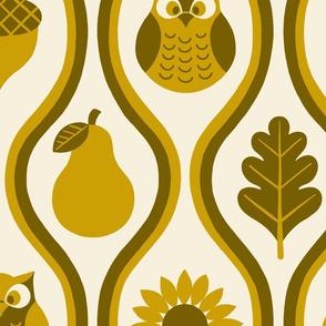 Retro Fall Owl - Mustard -Lg