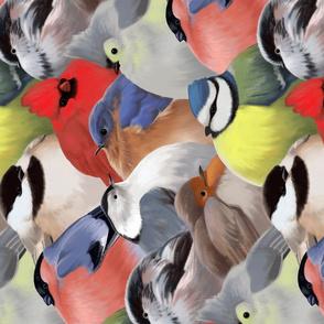 Winter Backyard Birds tea towel