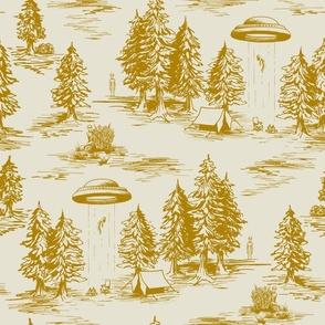 Large-Scale Mustard/Gold Alien Abduction Toile de Jouy