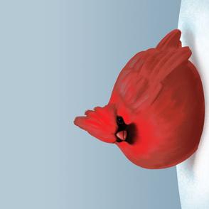 Overfed red cardinal tea towel