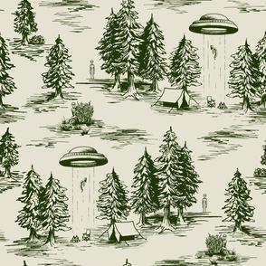 Forest Green & Cream Alien Abduction