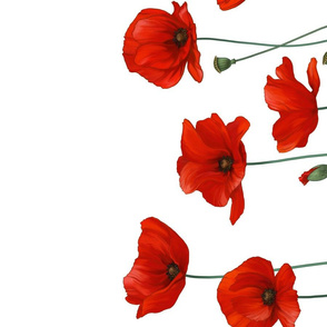 Red Poppies with intertwined stems tea towel