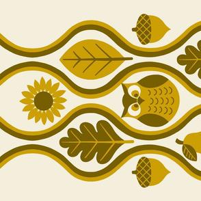 Retro Fall Owl Tea Towel -Mustard