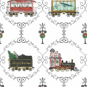 Christmas Train Large Red and green, Whimsical, train signal, hand drawn, Santa, apiary, terrarium, conservatory, aquarium, merry Christmas, Victorian,  blanket, home decor