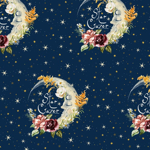 Large scale Magic Star, Moon and Wild Flowers Star Gazer on Dark Blue for gender neutral, unisex nursery, kids Cottagecore