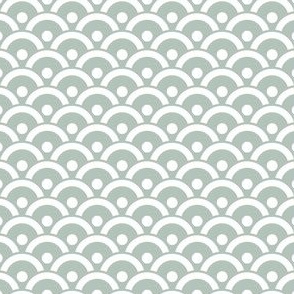 Japanese Filled Scales / Waves - Sage Green