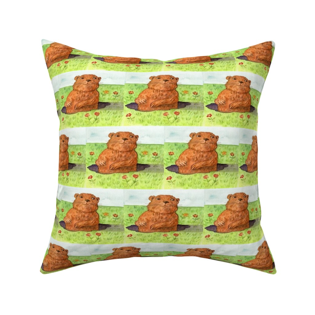 Catalan Throw Pillow featuring GROUNDHOG DAY OUT by bluevelvet