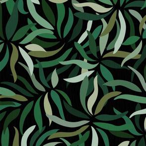 Sage Palms on Dark Background / Large