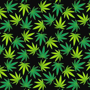 ★ SPINNING WEED ★ Green on Black - Small scale / Collection : Cannabis Factory 1 – Marijuana, Ganja, Pot, Hemp and other weeds prints