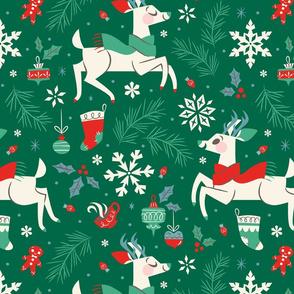 Winter Reindeer (Green & Large)