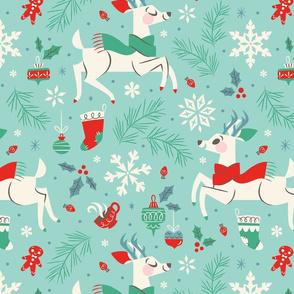 Winter Reindeer (Teal & Large)