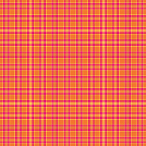 Bright Pink and Orange Plaid - Small