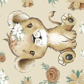 36x50 lion blanket tan