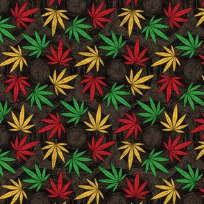 ★ RASTA WEED ★ AFRICAN BATIK / WAX INSPIRED - Red + Yellow + Green on Dark Brown - Small scale / Collection : Cannabis Factory 1 – Marijuana, Ganja, Pot, Hemp and other weeds prints