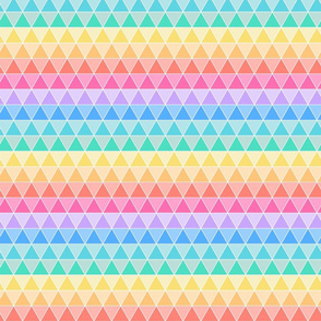 Tesselating Triangles Pastel Rainbow 1in wide triangles