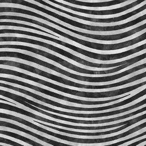 ★ ZEBRA SHIBORI ★ Black and Gray Watercolor - Small Scale / Collection : Wild Stripes – Punk Rock Animal Prints 2
