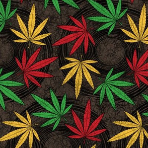 ★ RASTA WEED ★ AFRICAN BATIK / WAX INSPIRED - Red + Yellow + Green on Dark Brown - Large scale / Collection : Cannabis Factory 1 – Marijuana, Ganja, Pot, Hemp and other weeds prints