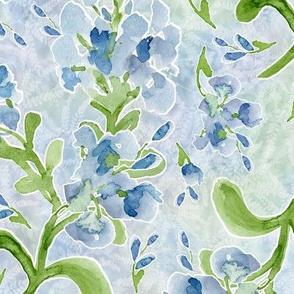 Large Watercolor Plumbago on Pastel Maidenhairs