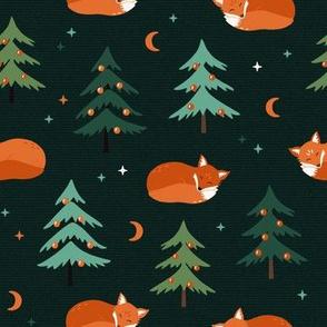 Sleeping Christmas Foxes