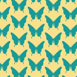 Regular Butterflies teal on yellow