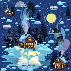 Cabin Cozy Winter Reading 10x10 Repeat