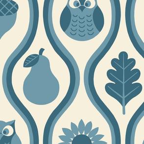 Retro Fall Owl -Denim Blue -Lg