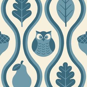 Retro Fall Owl - Denim Blue