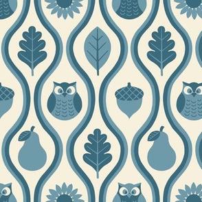Retro Fall Owl -Denim Blue -sm