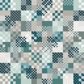 squares on teal