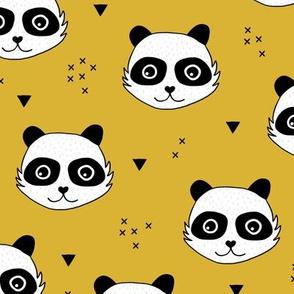 Kawaii Panda minimalist animals Scandinavian style kids nursery design ochre yellow