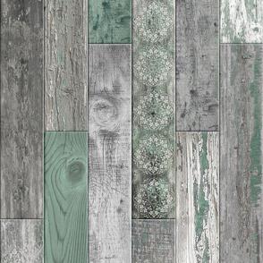 Vintage Wood Random Tiles Green Grey