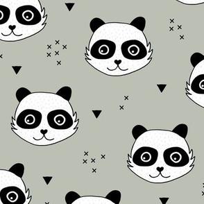Kawaii Panda minimalist animals Scandinavian style kids nursery design sage green