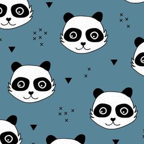 Kawaii Panda minimalist animals Scandinavian style kids nursery design stone blue night